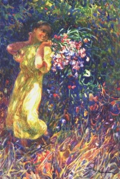 Plinio Nomellini - Fanciulla con fiori