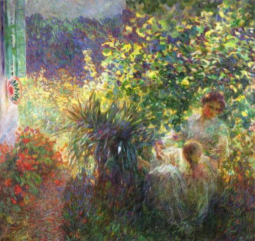 Plinio Nomellini - Madre e figlio nel giardino