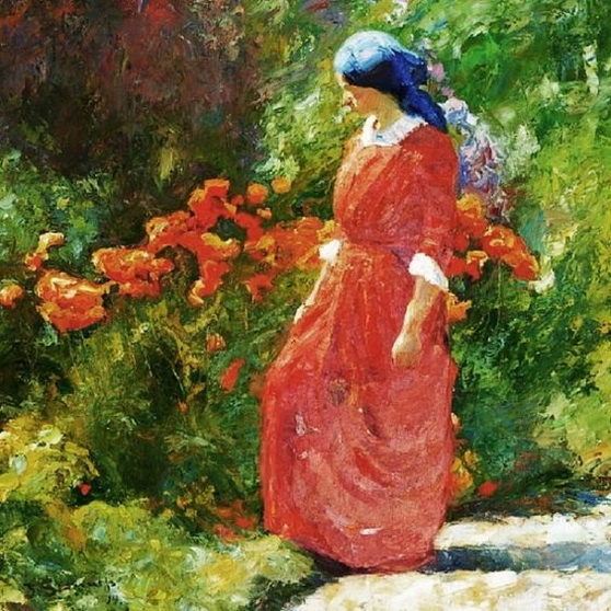 Johannes Grenness - A woman in a red dress in a garden with poppies