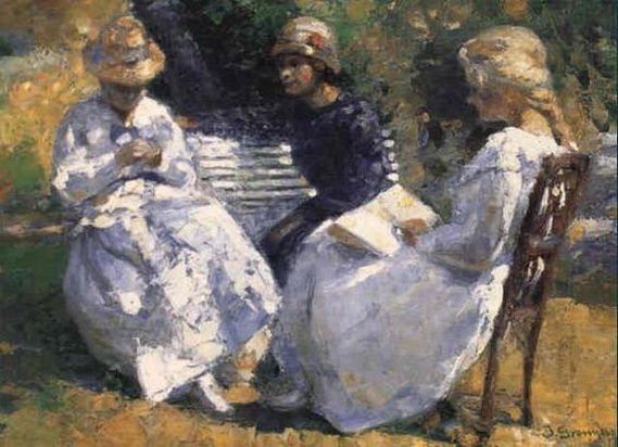 Johannes Grenness - Three Young Girls in a Garden
