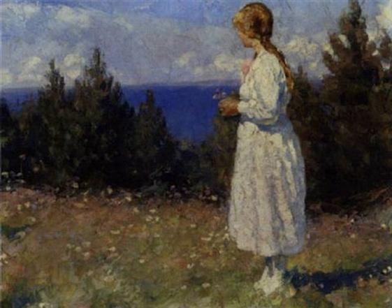 Johannes Grenness - Lille pige plukker blomster