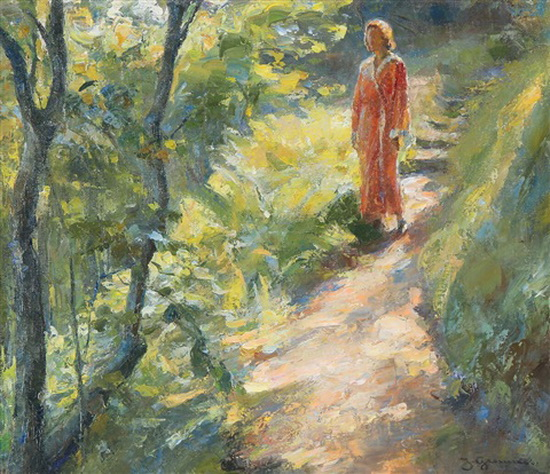 Johannes Grenness - Young woman on a forest path