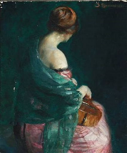 Johannes Grenness - woman with a guitar