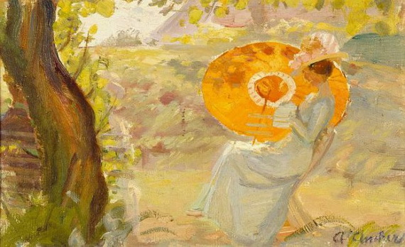Anna Ancher - Young Girl in a Garden with Orange Umbre
