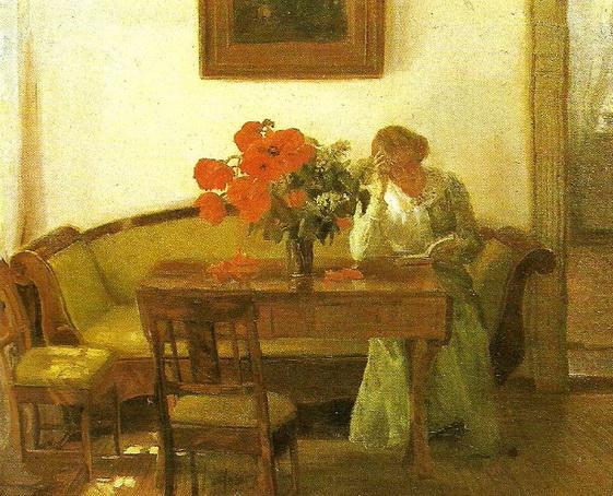 Anna Ancher - Interieur mit Mohnblumen