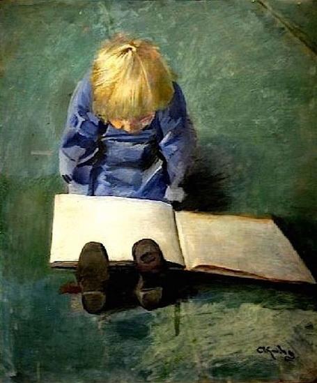 Christian Krohg - Little Eber Reading