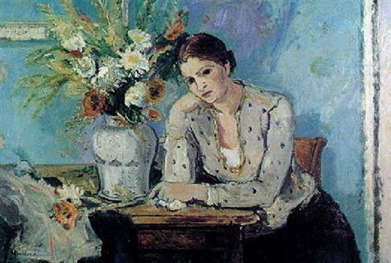 Maurice Brianchon - Femme au bouquet