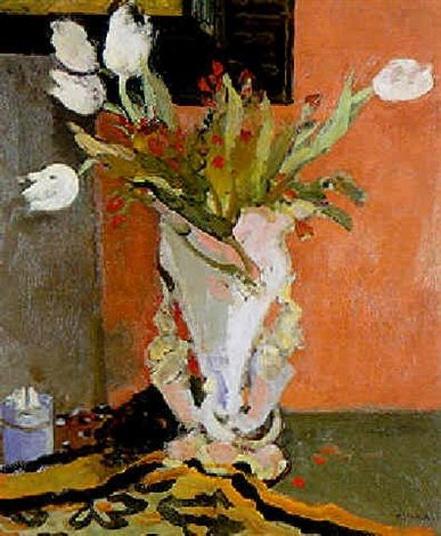 Maurice Brianchon - Bouquet de tulipes, fond rose