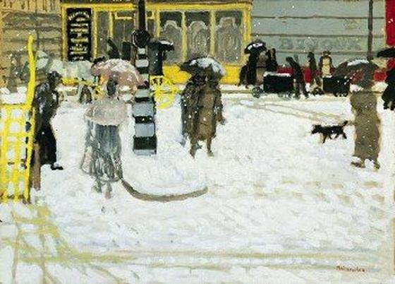 Maurice Brianchon - La place de Passy sous la neige
