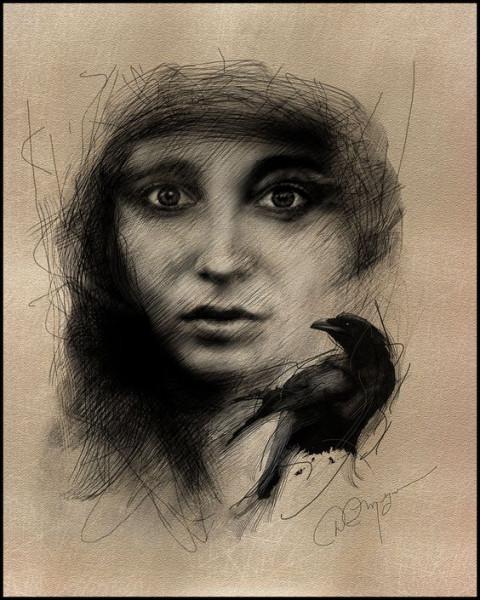 David Meyer - Woman with a black crow