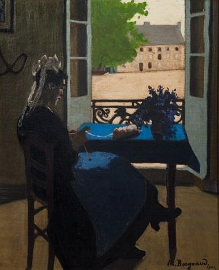 Marius Borgeaud - Bretonne tricotant