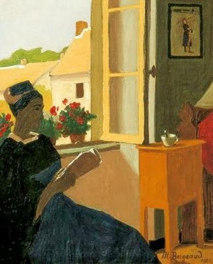 Marius Borgeaud - Jeune femme lisant a sa fenetre