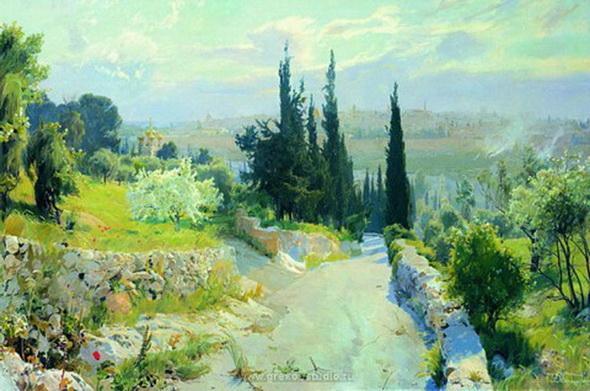 Д. Белюкин. Панорама Иерусалима с Оливковой горы на Пасху. 2004