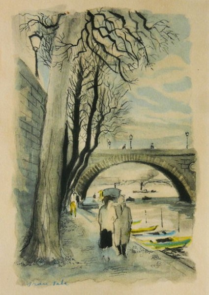 Emilio Grau Sala - Walking by the Seine, Paris
