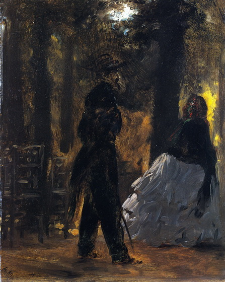 Adolph von Menzel  - Policeman and Lady in the Tuileries Gardens