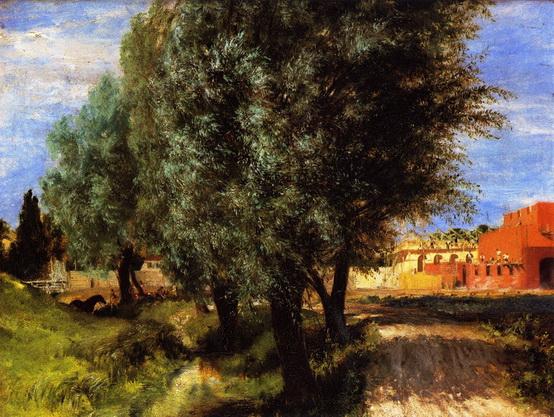 Adolph von Menzel  - Building Site with Willows