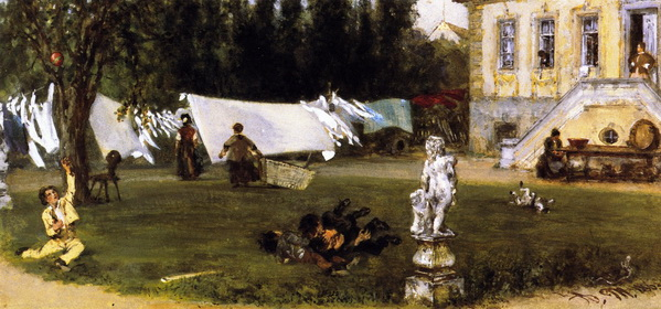 Adolph von Menzel  - Drying Yard