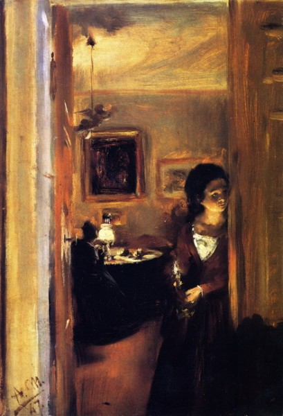 Adolph von Menzel  - Living Room with the Artist's Sister