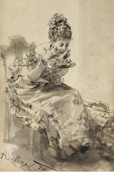 Adolph von Menzel  - Study for the 'Ballsouper