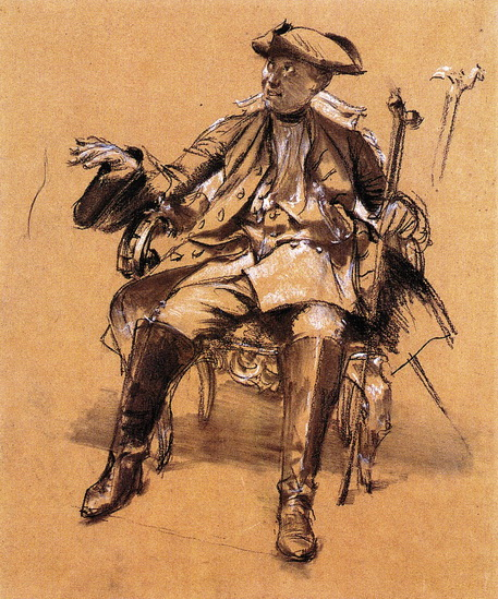 Adolph von Menzel  - Study of Model for Frederick II