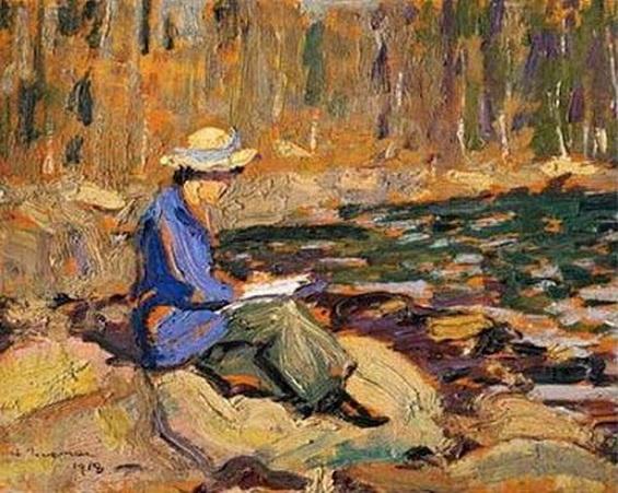 Arthur Lismer - My Wife at Sackville River