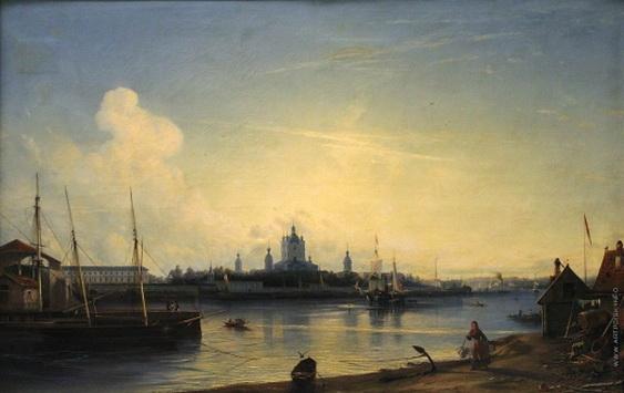 bogolyubov alexey -  Вид Смольного монастыря с Большой Охты