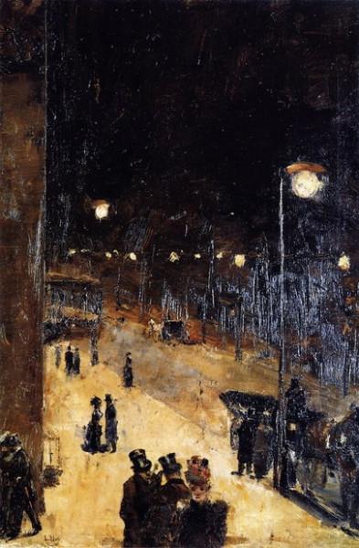Lesser Ury - Berlin Street at Night