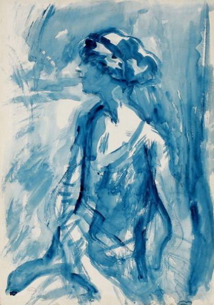 Ambrose McEvoy -  A portrait study in blue