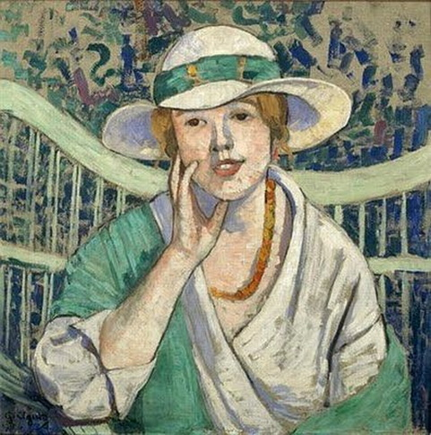 Georgette Agutte - The White and Green Hat