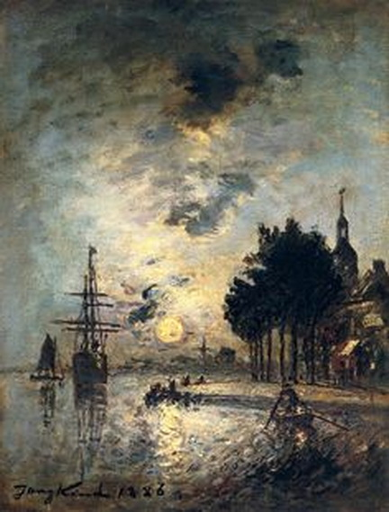 Johan Barthold Jongkind - Paysage au clair de lune