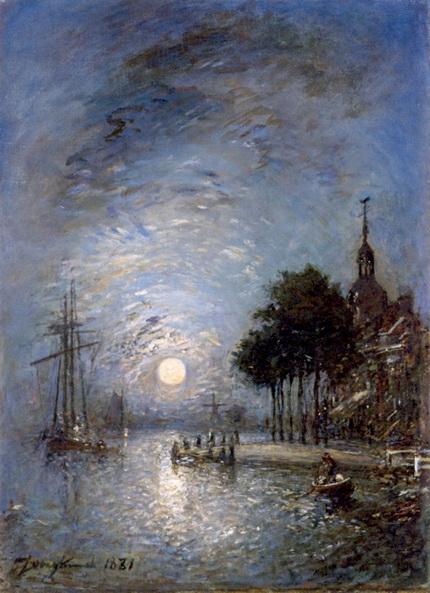 Johan Barthold Jongkind - The Port of Dordrecht at Twilight