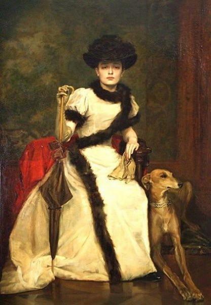Vaclav Brozik - Portrait of a Lady with Greyhound