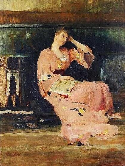 Vaclav Brozik - A Seated Lady