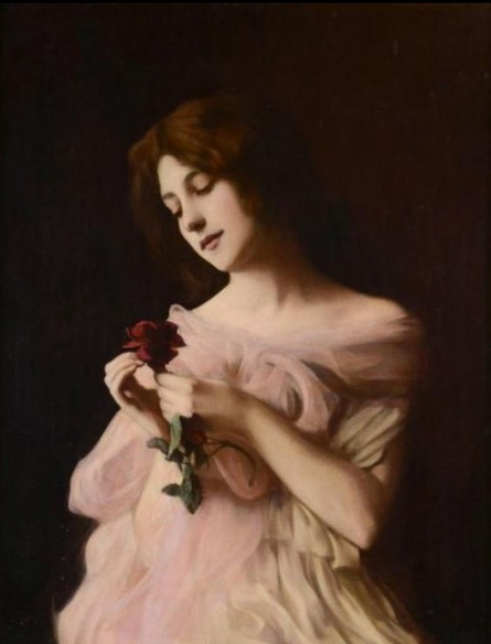Vlaho Bukovac - Girl with Rose
