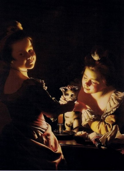 Joseph Wright -  Two Girls Dressing a Kitten by Candlelight