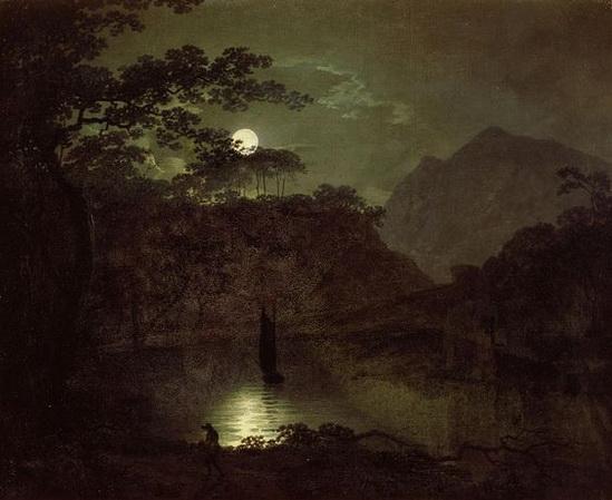 Joseph Wright - A Lake by Moonlight