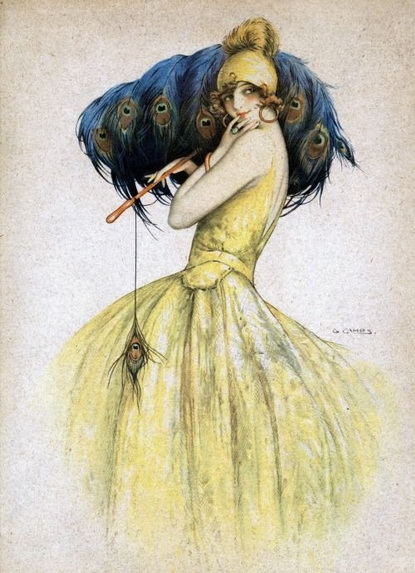 Louis Icart - lady with a peacock fan