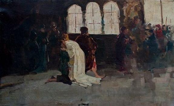 Domenico Morelli - il bacio della regina ginevra