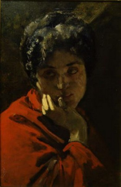 Domenico Morelli - Ritratto di donna in rosso