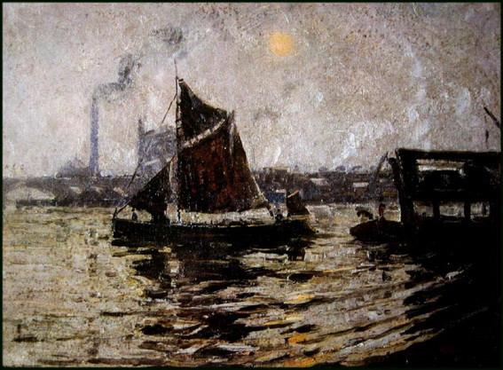 John William Ashton - Evening Light on the Thames