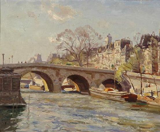 John William Ashton - The Bridge Over the Seine Paris