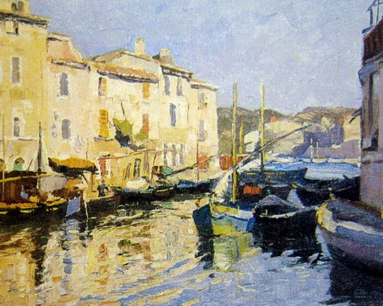 John William Ashton - Boats Tied Up, South of France