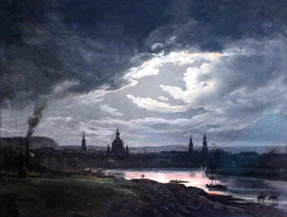Johan Christian Dahl -  Vue de Dresde la nuit