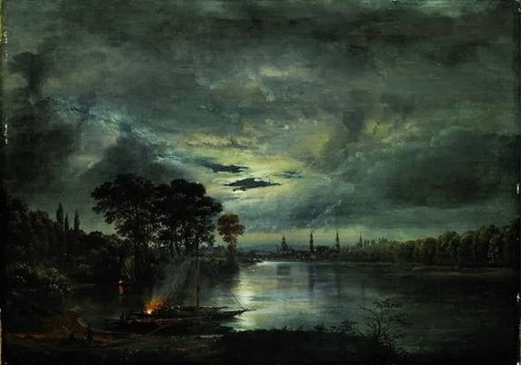 Johan Christian Dahl - Dresden by moonlight