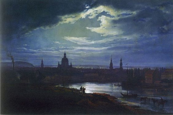 Johan Christian Dahl - Dresden in moonlight