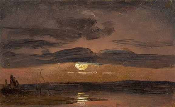 Johan Christian Dahl - The Elbe by Moonlight