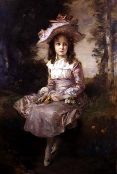 Friedrich August von Kaulbach -  young girl in a pink dress