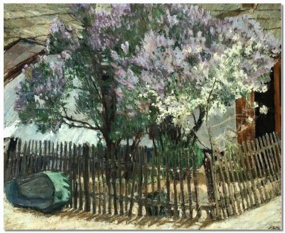 Mikhail Larionov - Куст сирени в цвету