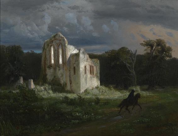 Arnold Bocklin - Ruins in the moonlit landscape