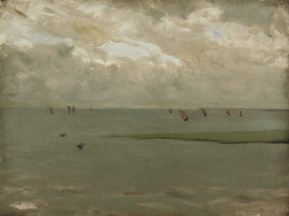 Theodore Roussel - Sail boats beyond the beach